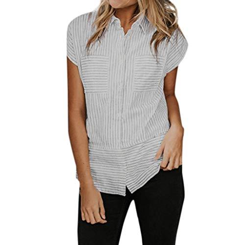 IMJONO Bluse weiß Damen Kurzarm, 2019 Frauen-beiläufige Kurzarm-Knopf-Taschen Streifen-Druck-Blusen-T-Shirt ()
