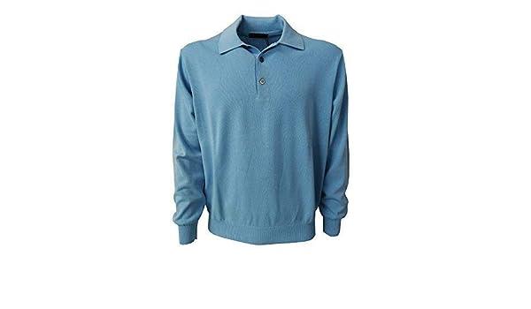 BRAMANTE polo uomo celeste 100/% cotone MADE IN ITALY vestibilità regolare