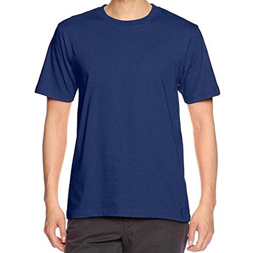 KEERADS Herren Einfarbig Baumwoll T-shirt Marineblau