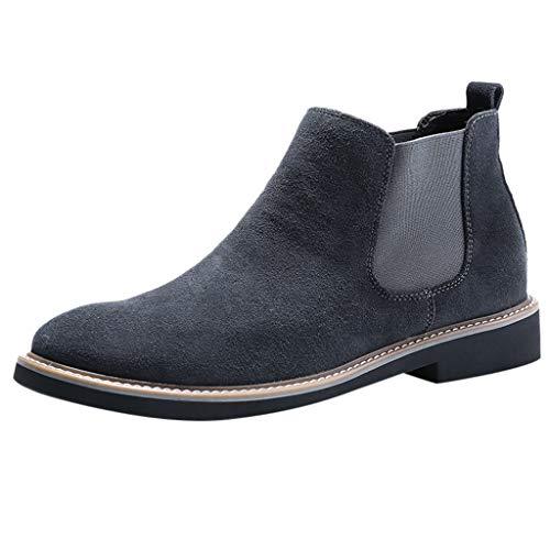 Heetey Mode Stiefel Fashion Herren Retro Flacher Werkzeugschuh mit niedrigem Absatz, runder Kopf, Rutschfester, kurzer Stiefel Vintage Herrenstiefel mit niedrigem Absatz