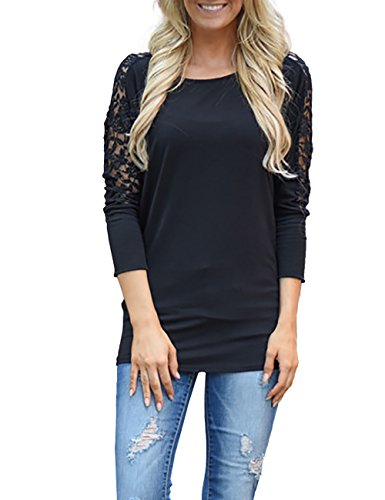 Donna maglietta manica lunga girocollo allentato pizzo Camicetta T-shirt Top casuale partito per le donne (bk,m)