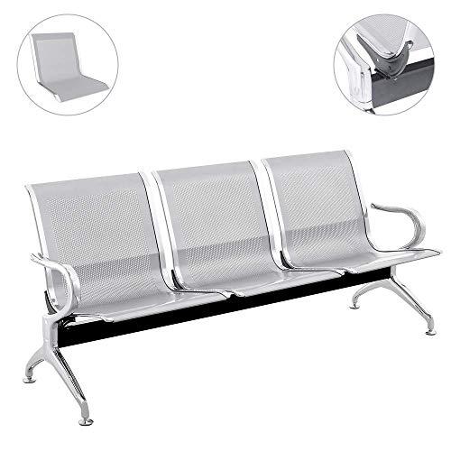 PrimeMatik - Panca per sala da attesa con 3 posti ergonomico argento