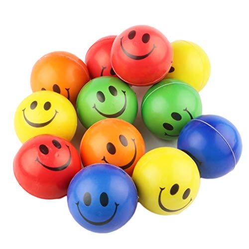 Ogquaton Smiley Gesicht Ball PU Schwamm Ball Kinder Spielzeug Bouncy Ball Ball Ball Party Beutel 12 Stück