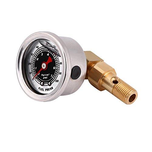 Qiilu Universal Kraftstoffdruck Flüssigkeit Gefüllt Regler Adapter Kit 0-100PSI(Swarchz)