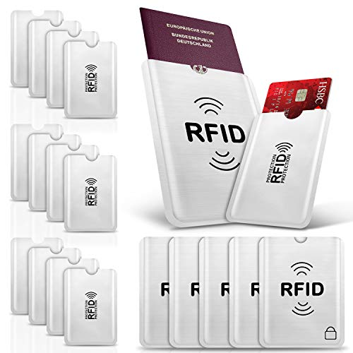 PAMIYO Protecteur de Carte Porte-Monnaie Anti RFID Anti FRAUDE Etui Carte Bancaire Anti Piratage,Étui protége des Cartes de crédit Carte Bleue sans Contact (RFID Pochette Protection Porte Carte 12+5)