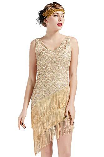 Coucoland 1920s Kleid Damen Flapper Charleston Kleid V Ausschnitt Great Gatsby Motto Party Damen Fasching Kostüm Kleid (Beige, S) - 20 S Flapper Kleid