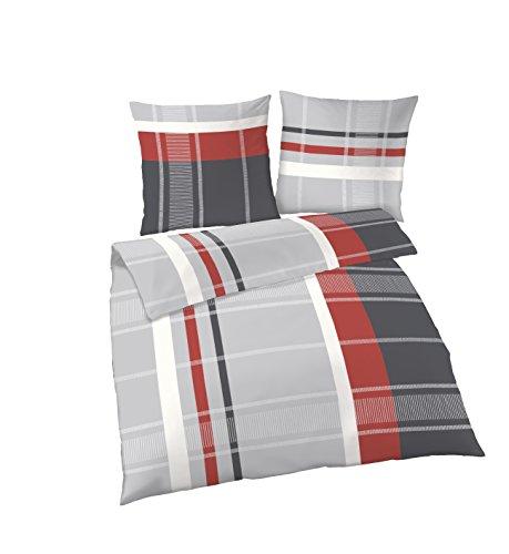 Unbekannt IDO Streifen Silber rot Biber Bettwäsche 2tlg. 155x220 cm und 80x80 cm Feinbiber 675105