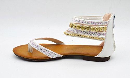 SHS65 * Sandales Nu-Pieds Simili Cuir Satiné avec Multi-Brides Paillettes Fleurs Perles - Mode Femme Blanc