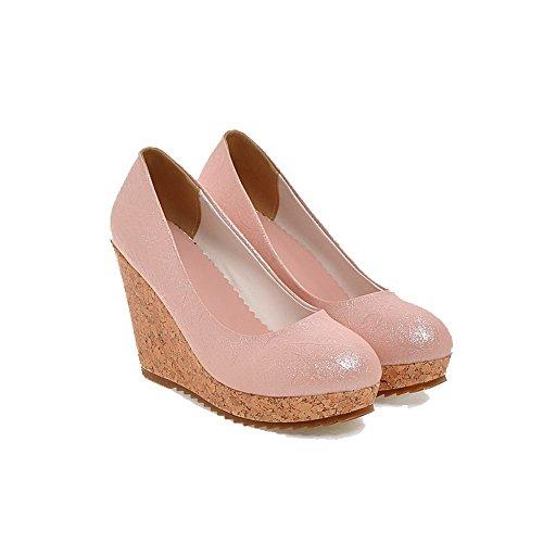 AllhqFashion Femme Couleur Unie Pu Cuir à Talon Haut Rond Chaussures Légeres Rose