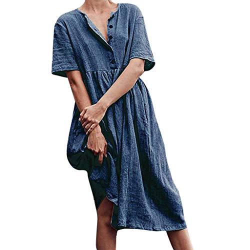 r Damen Freizeit Strandkleider Lose Sommerkleider Einfarbig Tunika Leinen Shirtkleid Midikleider(X4-Blau,EU-40/CN-XL) ()