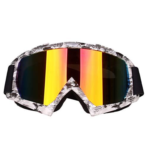 AmDxD TPU Motorradbrillen Outdoor Schutz Brille Radbrille Schneebrille Schutzbrillen für Motorrad Fahrrad Helmkompatible, Schwarz Weiß