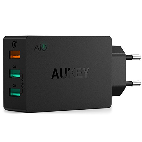 AUKEY Quick Charge 3.0 Chargeur Secteur 43,5W 3 Ports de Prise USB pour Samsung Galaxy S8 / S8+ / Note 8, LG G5 / G6, Nexus 5X / 6P, HTC 10, iPhone X / 8 / 8 Plus, iPad Pro/ Air, Moto G4 etc.