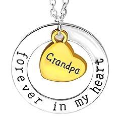 Idea Regalo - Collana Doppio Ciondolo Cuore E Cerchio Con Scritta Forever In My Heart Grandpa ( Per sempre nel mio cuore Nonno )