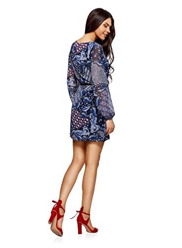 oodji Ultra Damen Kleid Basic mit Gürtel Blau (7945E)