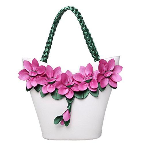 QPALZM QPALZM Weibliche Tasche 2017 Schulterbeutel Art Und Weisetendenz Gewebte Blumen Großes Paket Kleine Frische Handtasche Prägte Handgriff Reißverschluss Schließen White