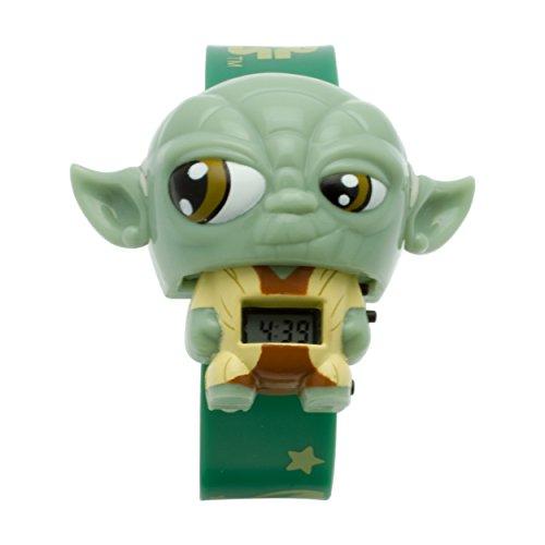 Reloj con luz infantil BulbBotz con figurita de Yoda de La guerra de las galaxias | verde/marrón| plástico | digital | Pantalla LCD | chico chica | oficial