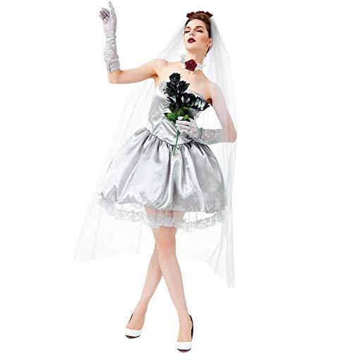 Kostüm Bride Gothic Corpse - GLXQIJ Halloween Damenkostüm Graveyard Bride Corpse Kleid Damen White Lace Cosplay Kostümfest, Kleid & Rosenschleier,Gray,M