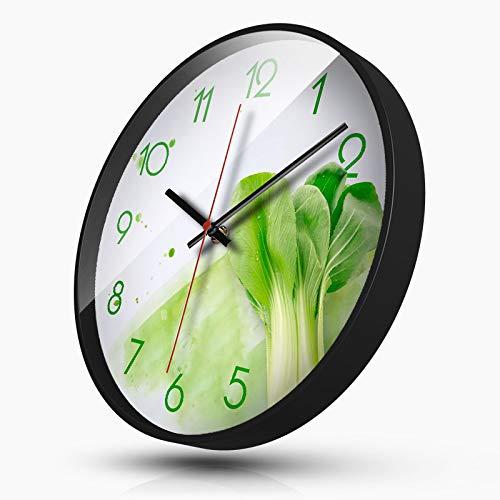 LJR-Y Clock Clock Creative Clock Living Room Bedroom Personalized Silent Clock Quartz Clock Gourmet Series 14 Inches Rape Black Frame - Serie Black Frame