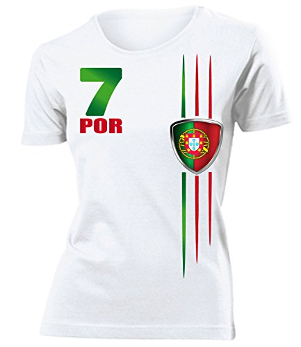 love-all-my-shirts PORTUGAL FANSHIRT STREIFEN 3215 Damen T-Shirt (F) Gr. XL