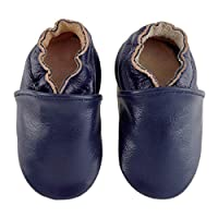 KOSHINE First Walker Leather Baby Shoes with Soft Soles Toddler Moccasins for Boys Girls 0-6-12-18-24 Months Blue Size: Medium