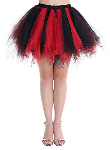 Dressystar DSP0005 Minirock Kurz Unterrock Tutu Unregelmäßig Tüll Damen Mädchen Ballettrock Multi-Schichten Schwarz Rot (Schwarz Kinder Kleider)
