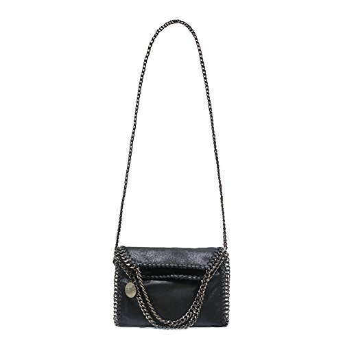 Artone Da Donna Pu Casual Catena Messenger Borsa Crossbody Fit iPad Mini Nero