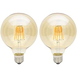 2X E27 Bombillas Edison 6W Bombilla Vintage G95 LED Retro Blanco Cálido 420LM Sustitución del Incandescente 60W Input AC85-265V