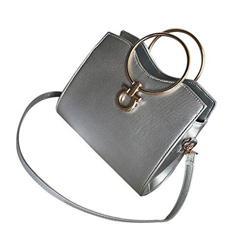 Longra Sacchetto di spalla unica del cuoio del cerchio del ferro di colore solido dell'unità di elaborazione delle donne Argento