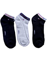 Tommy Hilfiger Men Cotton Ankle Socks (RN56152_White/Black/Gray_Large)
