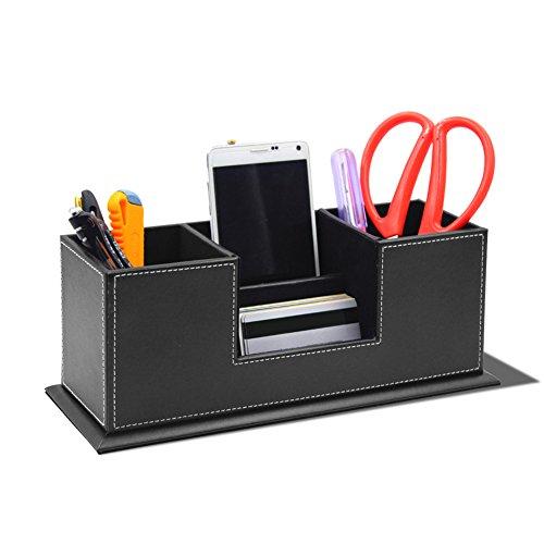 Multifunktionale Schreibtisch Stifte Organizer Stiftehalter Stiftablagen mit 4 Fächern aus PU-Leder Officebox Bürobedarf Schreibwaren Behälter Ordungbox Organisator Schwarz
