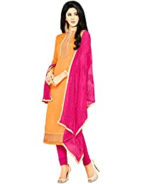 Mrinalika Fashion Women's Cotton Cocktail Salwar Suit Set (Salwar Suits For Women's - Nxa1004_1_Orange_Free Size)