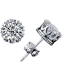 Pendientes de plata de ley 925 con cristales de Swarovski brillantes para mujer