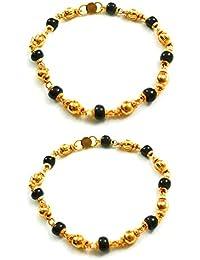 SMARNN Gold plated kada Bangles Bangle set Nazariya for New born baby boy girl kid child jewellery with Black and Golden Beads (0-12 months)