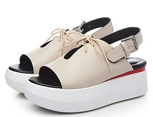 Piattaforma Casual Donne Sandali OL Hollow Respirabile Upper Buckle Slingbacks Outsoles antisdrucciolevoli Casual Fashion Shoes UE Taglia 34-39 apricot