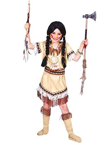Weiße Indianer Kostüm Mädchen (Indianer-Kostüm mit Fransen für)