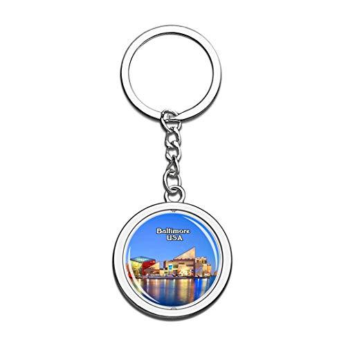 USA Vereinigte Staaten Schlüsselbund Baltimore Inner Harbor Schlüsselbund 3D Kristall Drehen Rostfreier Stahl Schlüsselbund Touristische Stadt Andenken Schlüsselanhänger