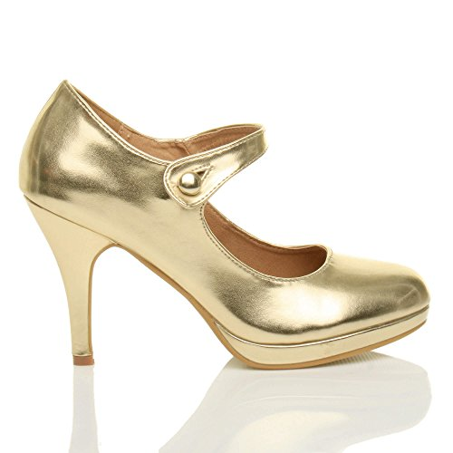 Damen Mittel Hoher Absatz Mary Jane Riemen Abend Elegant Pumps Schuhe Größe Gold Metallisch