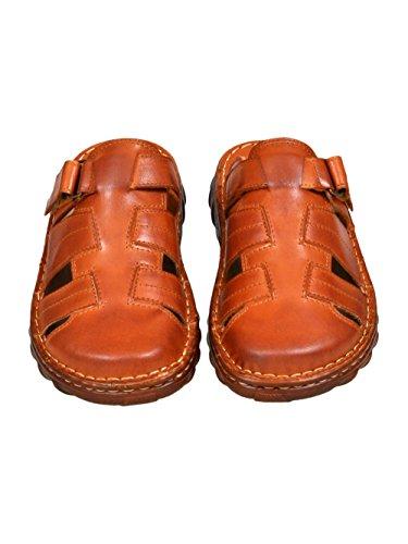 Herren Bequeme Sandalen Schuhe Mit Der Orthopadischen Einlage Aus Echtem Buffelleder Hausschuhe Modell 877 Kognak