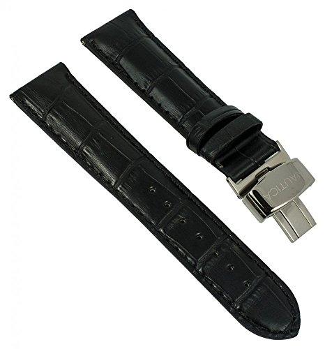 Ersatzband Uhrenarmband Nautica schwarz mit Faltschließe 22mm für A16071G