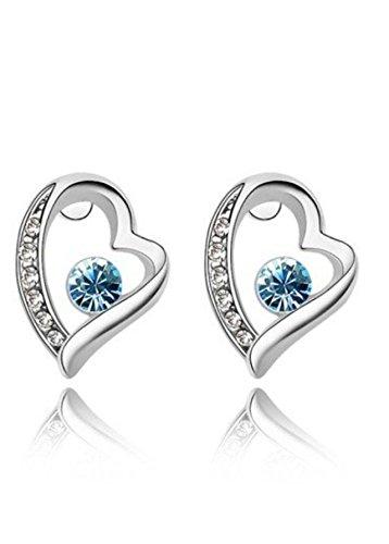 Swarovski Elements cristallo-Orecchini a perno a forma di cuore Back to love blu