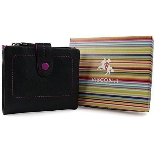 Ladies Morbida PELLE Piccolo Bi-Fold, Borsetta/Portafoglio da Visconti; Mimi Confezione Regalo Black Multi