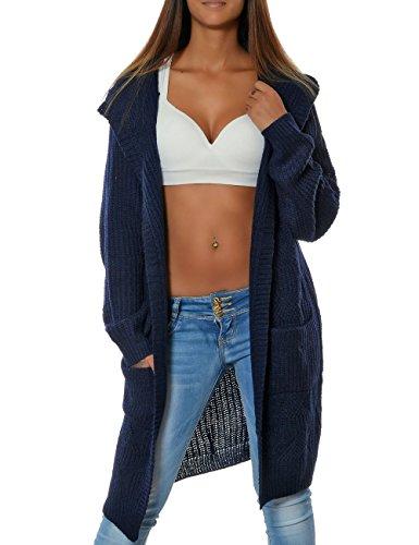 Damen Cardigan Strickjacke Mantel Langarm Pullover (weitere Farben) 15729, Farbe:Navy, Größe:One Size
