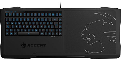 ROCCAT SOVA Gaming-Lapboard USB-Tastatur deutsches Layout - Für PC, Xbox One, PS4 -Tastenbeleuchtung (Blau), Membran-Tasten, Mauspad, Schwarz