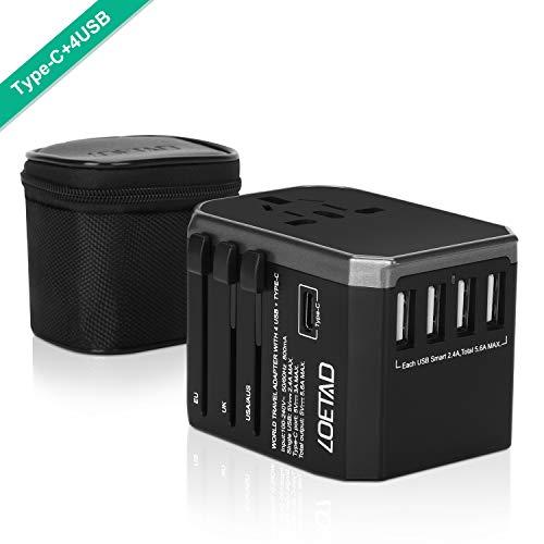 LOETAD Reiseadapter Reisestecker Universal Reise Stecker mit 4 USB Ports 1 Typ-C und 1 AC Buchse weltweit Internationale Travel Adapter für 150 Ländern
