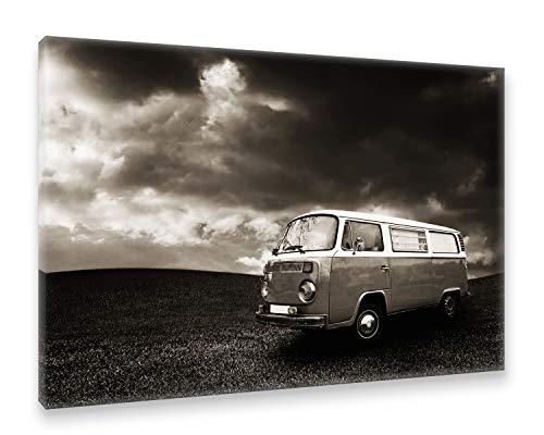 Natur / Schwarz Canvas An (Postereck - Premium Leinwand - 0528 - Oldtimer Bus, Schwarz Weiß Bulli Auto Urlaub Natur - Größe 35,0 cm x 25,0 cm)