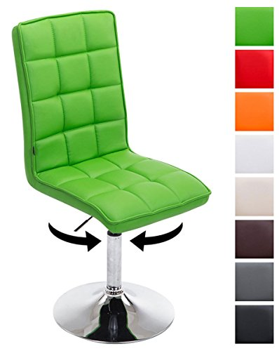 Clp sedie design peking v2 similpelle, sedie sala da pranzo, altezza regolabile 41-55 cm, sedia imbottita e girevole, con schienale alto e senza braccioli, in vari colori verde