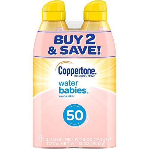 Coppertone WaterBABIES Quick Cover Lotion Spray SPF 50 Twin Pack (6oz x 2) by Coppertone