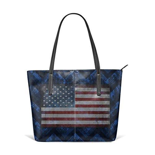 XGBags Cobalt blue digital camo patriotic chevrons Leather Tote Large Purse Shoulder Bag Portable Storage HandBags Convenient Shoppers Tote For Travel Shopping Daily Life Tote Umhängetaschen - Tragen Mädchen Camo Echte