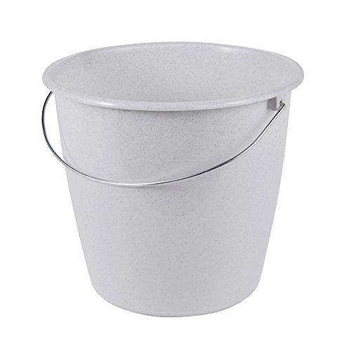 ok Eimer mit Metallbügel, Stabiler Kunststoff (PP), Rund, 5 l, Granit-Grau -