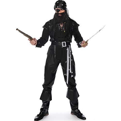 1-1 Halloween Adult-Kostüm-Schwarz-bärtiger Einäugiger Piraten-Kapitän Navigator Anzug Cosplay Karneval Ostern (Piraten Märchen Kostüm)